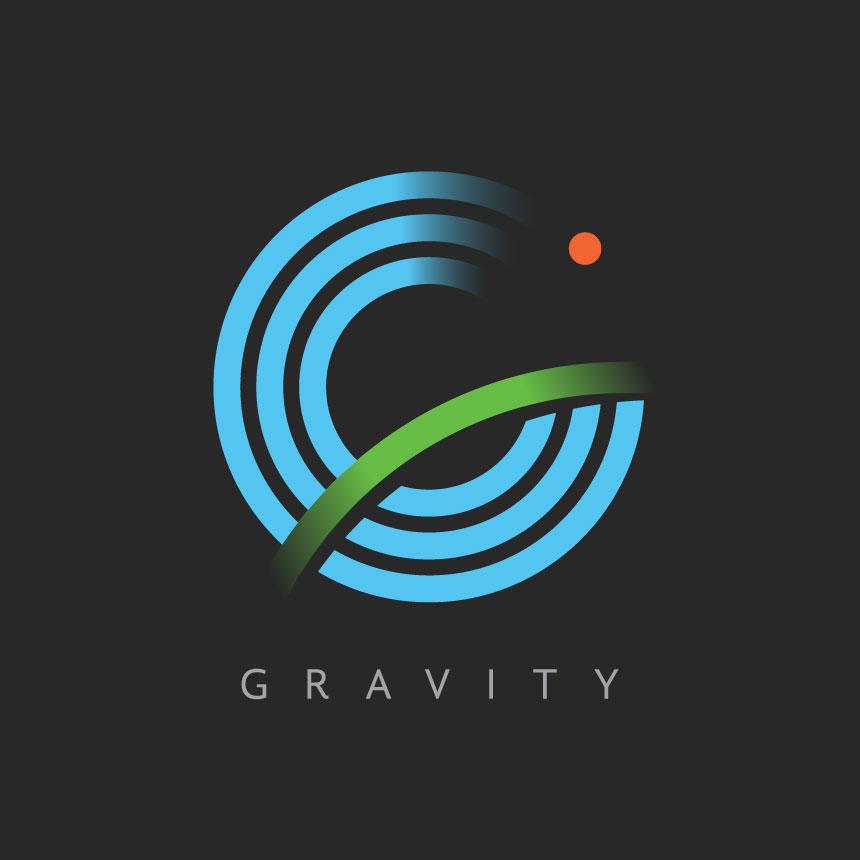 A square Gravity Logo with a black background