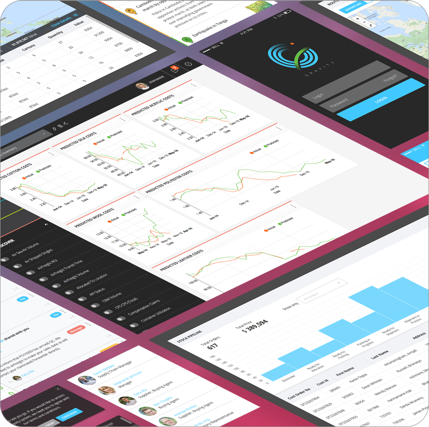 Gravity Supply Chain's product dashboards layouts